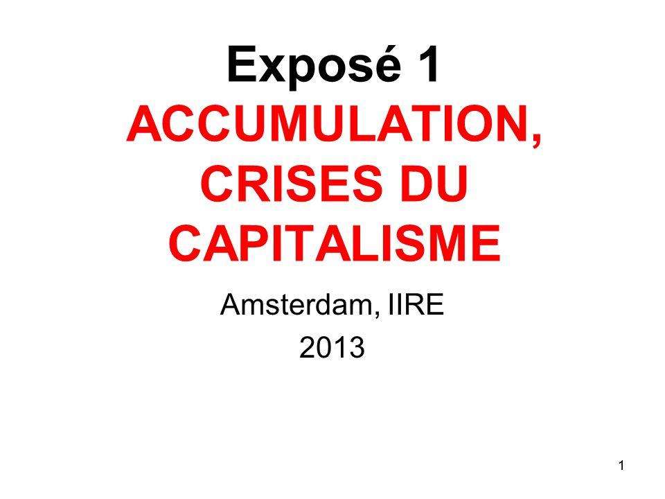 Exposé 1 ACCUMULATION, CRISES DU CAPITALISME