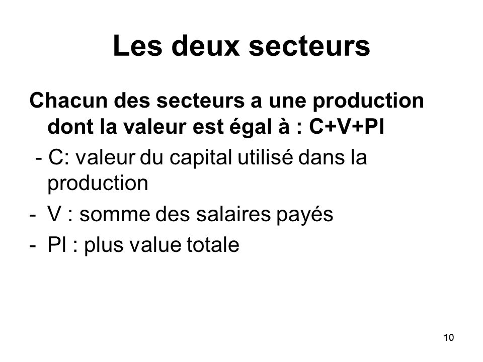 Les deux secteursChacun des secteurs a une production dont la valeur est égal à : C+V+Pl. - C: valeur du capital utilisé dans la production.
