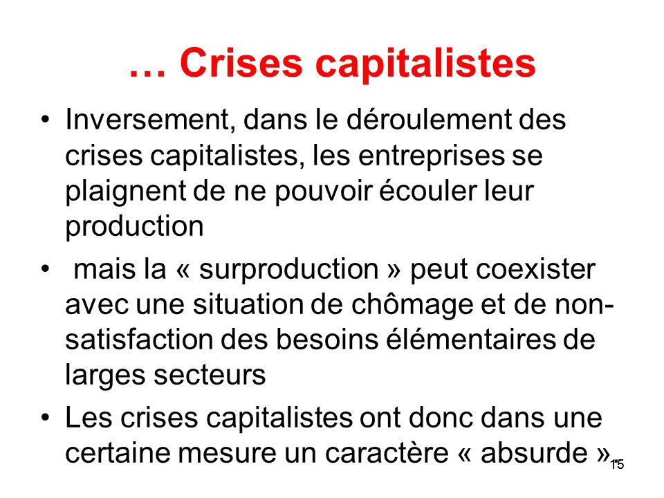 … Crises capitalistesInversement, dans le déroulement des crises capitalistes, les entreprises se plaignent de ne pouvoir écouler leur production.