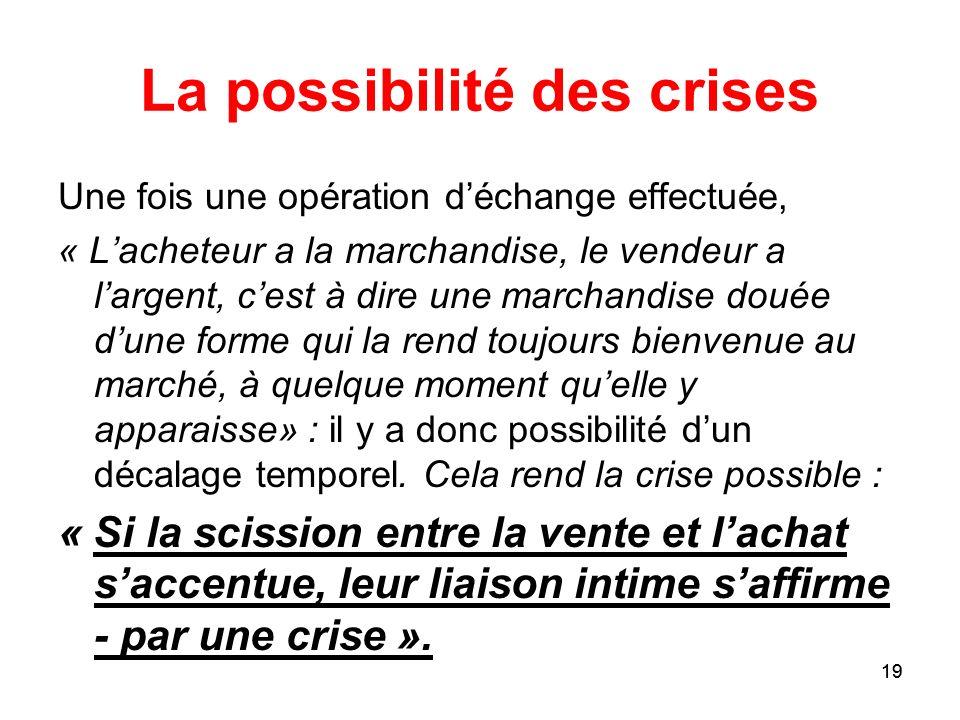 La possibilité des crises