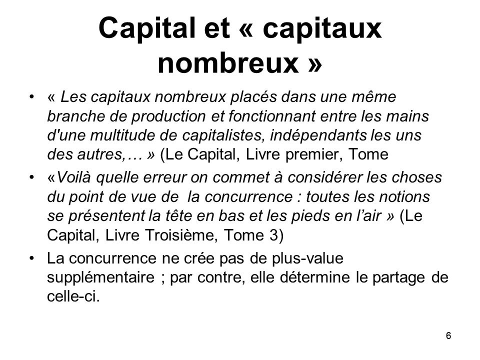 Capital et « capitaux nombreux »