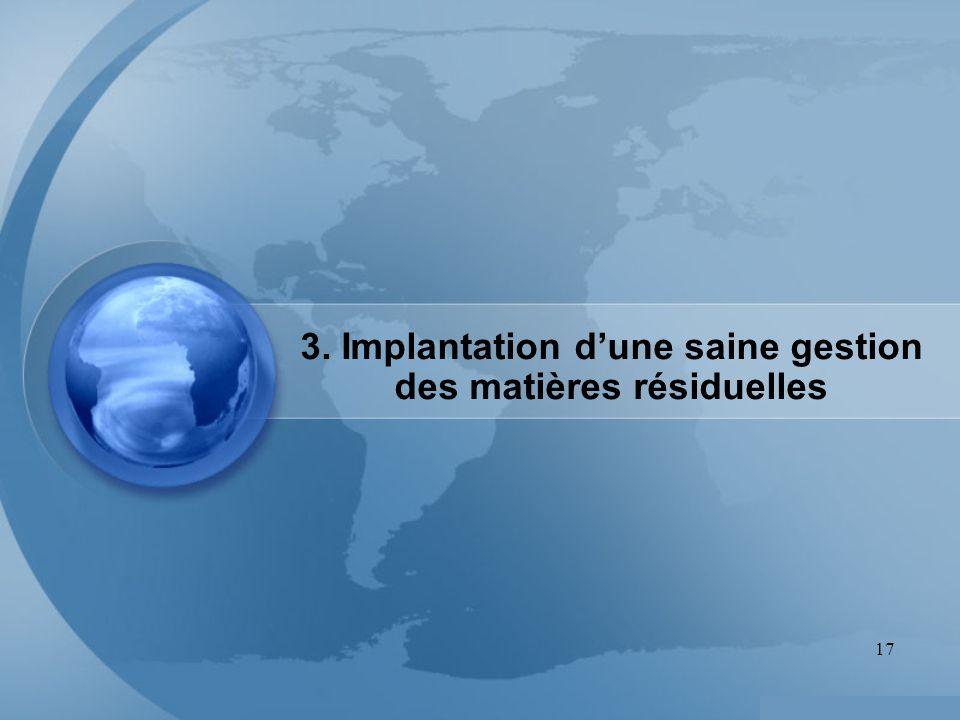 3. Implantation d'une saine gestion des matières résiduelles