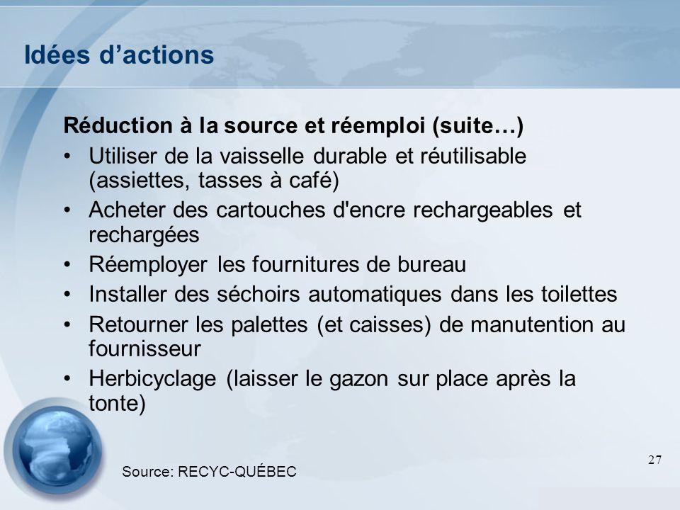 Idées d'actions Réduction à la source et réemploi (suite…)