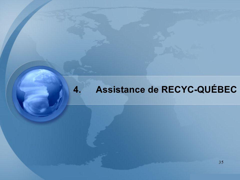 4. Assistance de RECYC-QUÉBEC