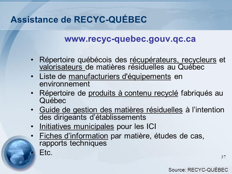 Assistance de RECYC-QUÉBEC
