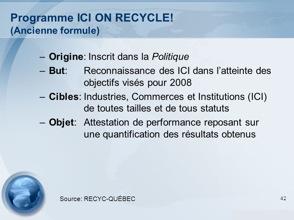 Programme ICI ON RECYCLE! (Ancienne formule)