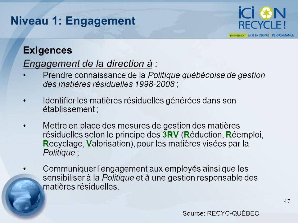 Niveau 1: Engagement Exigences Engagement de la direction à :