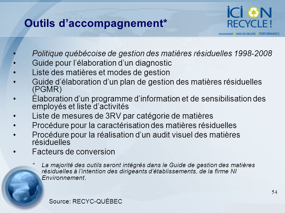 Outils d'accompagnement*