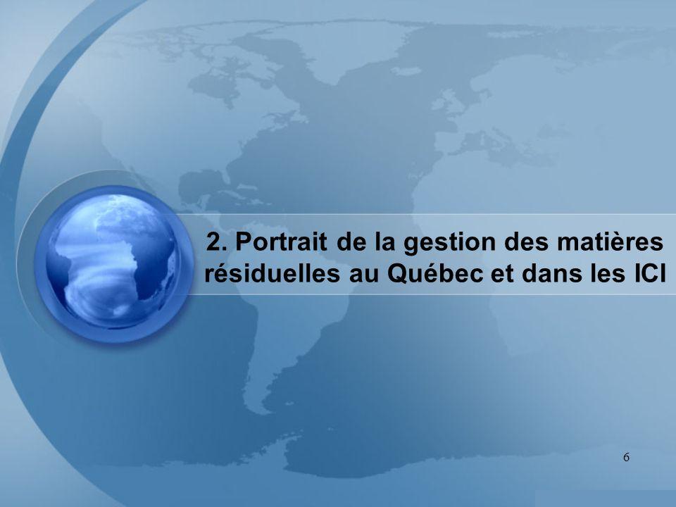 2. Portrait de la gestion des matières résiduelles au Québec et dans les ICI