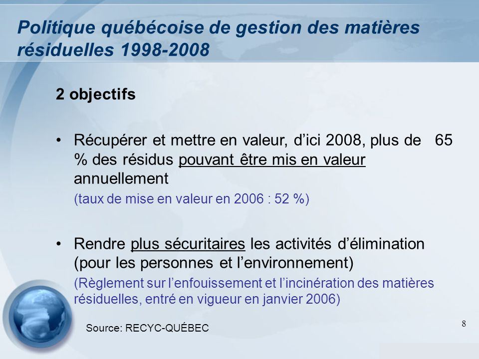 Politique québécoise de gestion des matières résiduelles 1998-2008