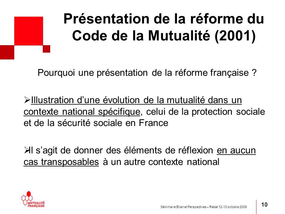 Présentation de la réforme du Code de la Mutualité (2001)