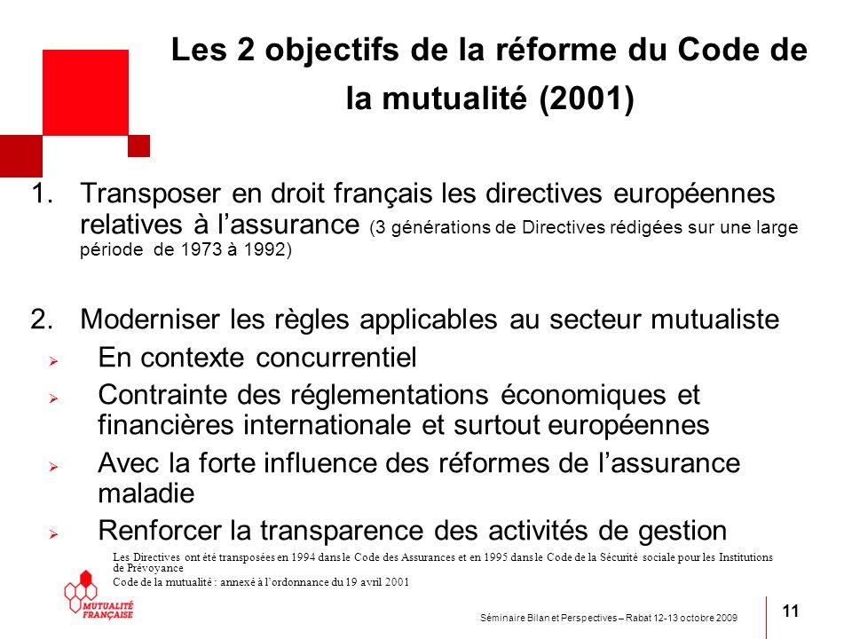 Les 2 objectifs de la réforme du Code de la mutualité (2001)