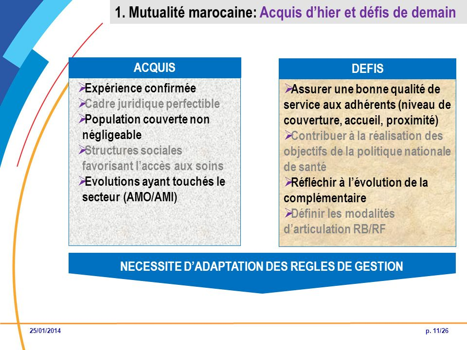 NECESSITE D'ADAPTATION DES REGLES DE GESTION