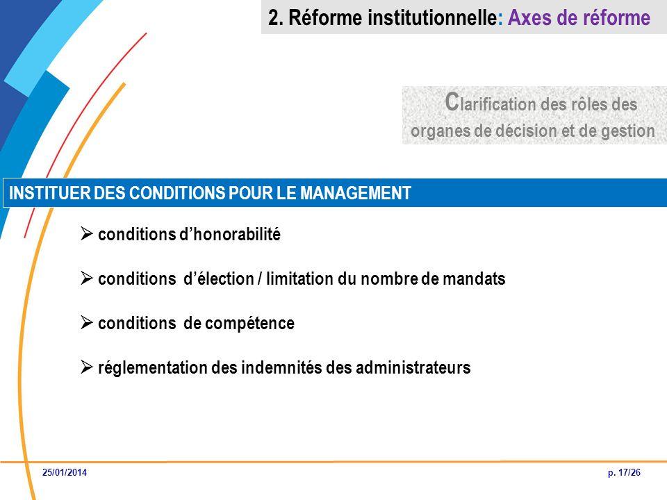 Clarification des rôles des organes de décision et de gestion