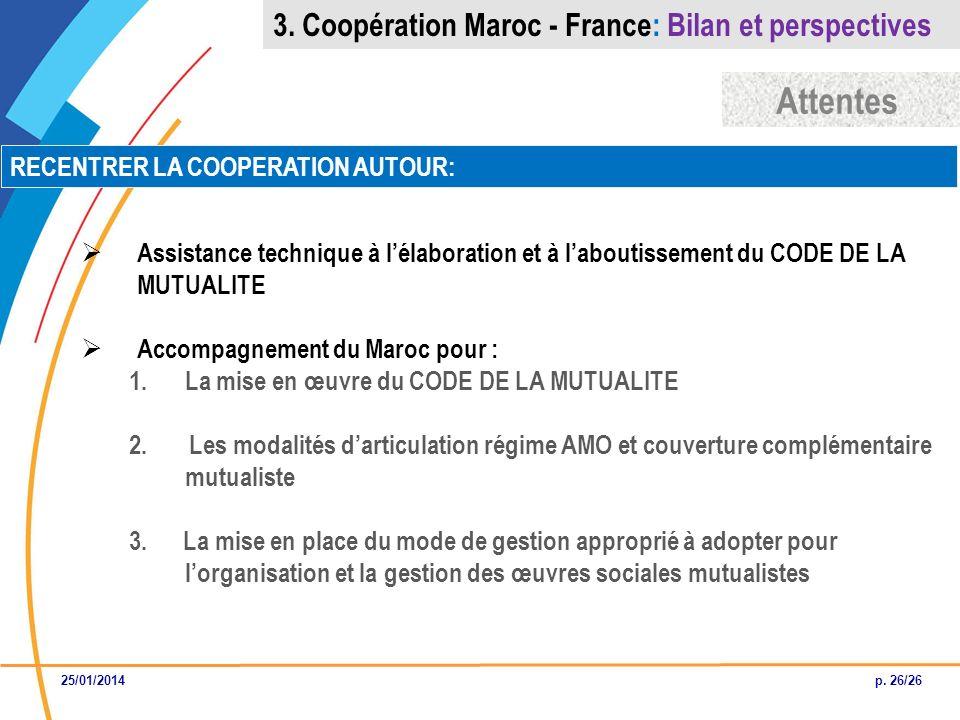 Attentes 3. Coopération Maroc - France: Bilan et perspectives