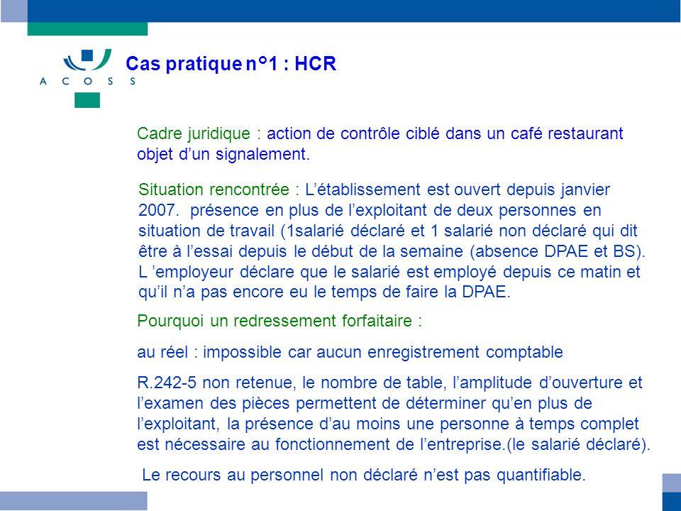 Cas pratique n°1 : HCR Cadre juridique : action de contrôle ciblé dans un café restaurant objet d'un signalement.