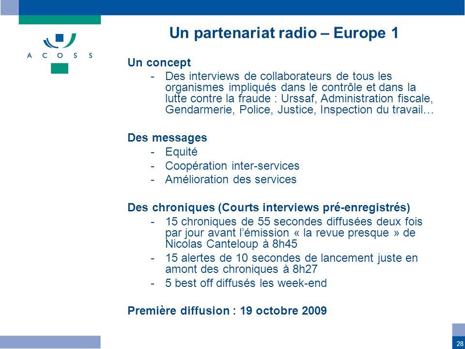 Un partenariat radio – Europe 1