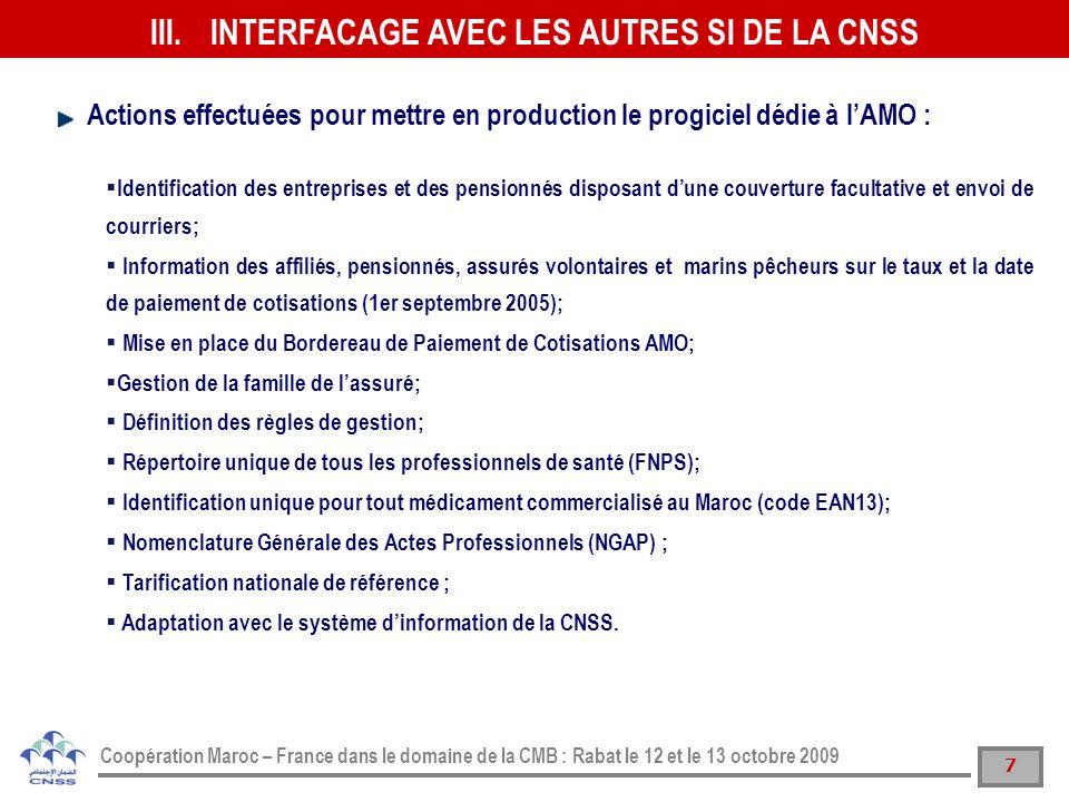 INTERFACAGE AVEC LES AUTRES SI DE LA CNSS