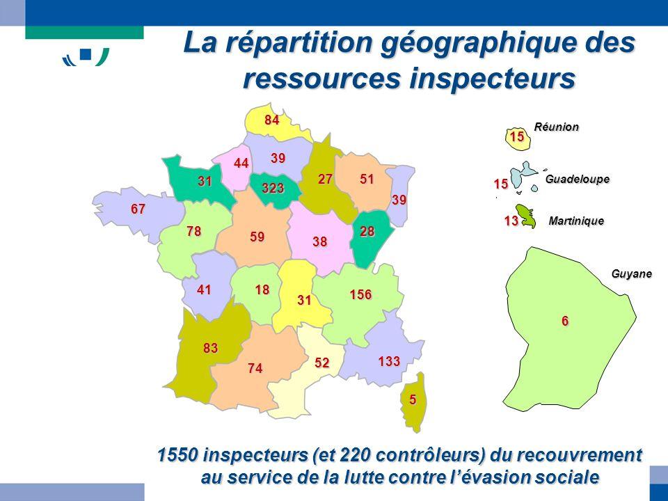 La répartition géographique des ressources inspecteurs