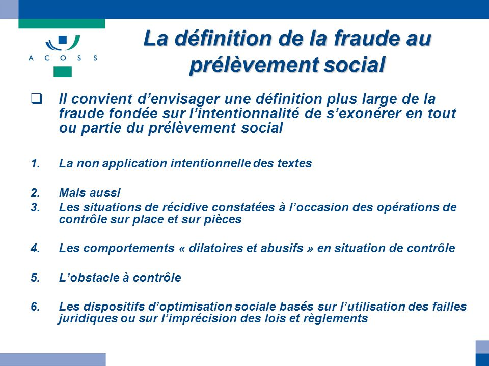 La définition de la fraude au prélèvement social