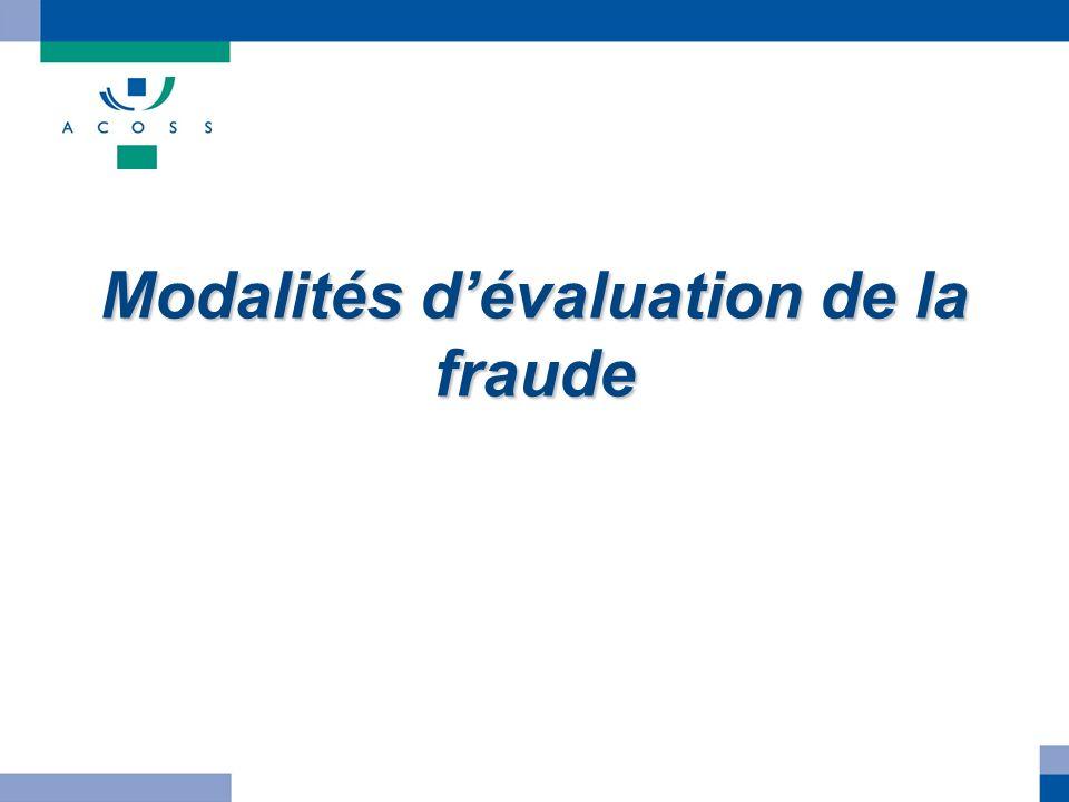 Modalités d'évaluation de la fraude