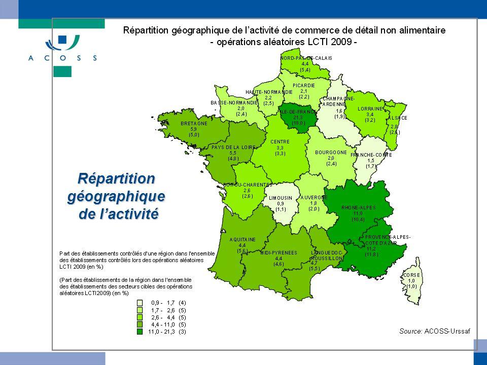 Répartition géographique de l'activité