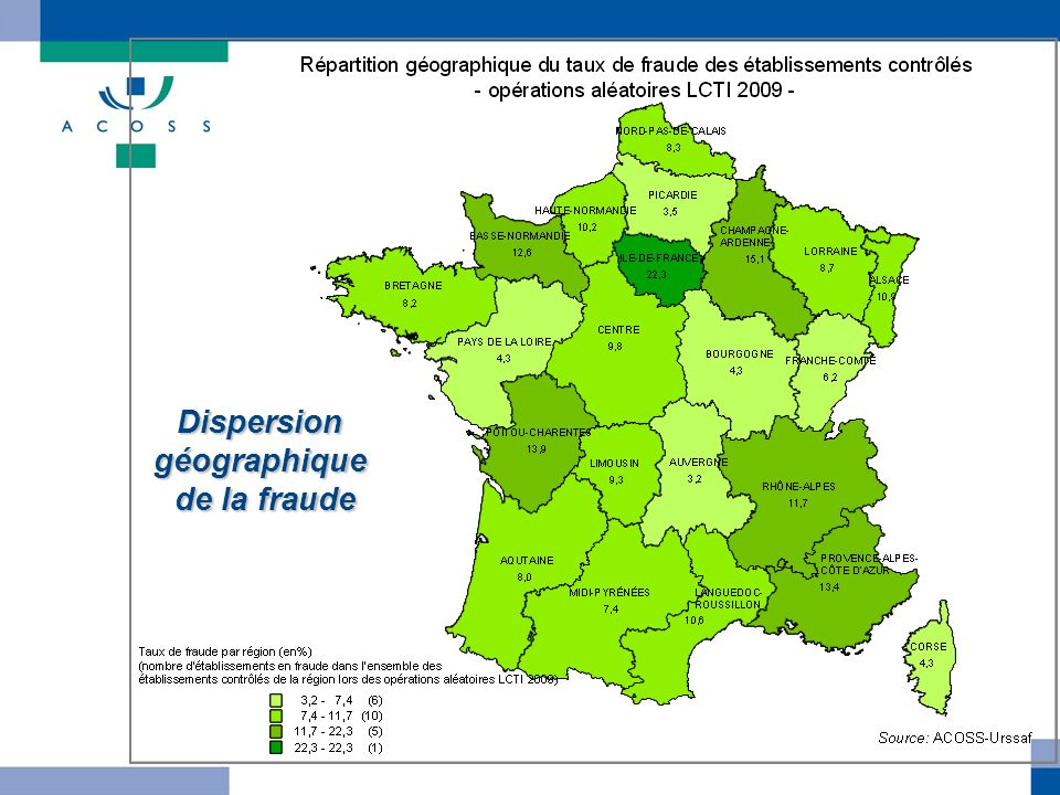 Dispersion géographique de la fraude