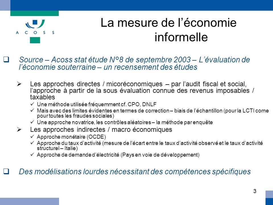La mesure de l'économie informelle