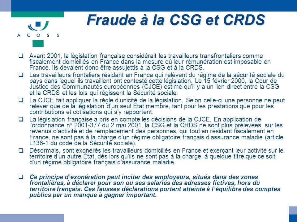 Fraude à la CSG et CRDS