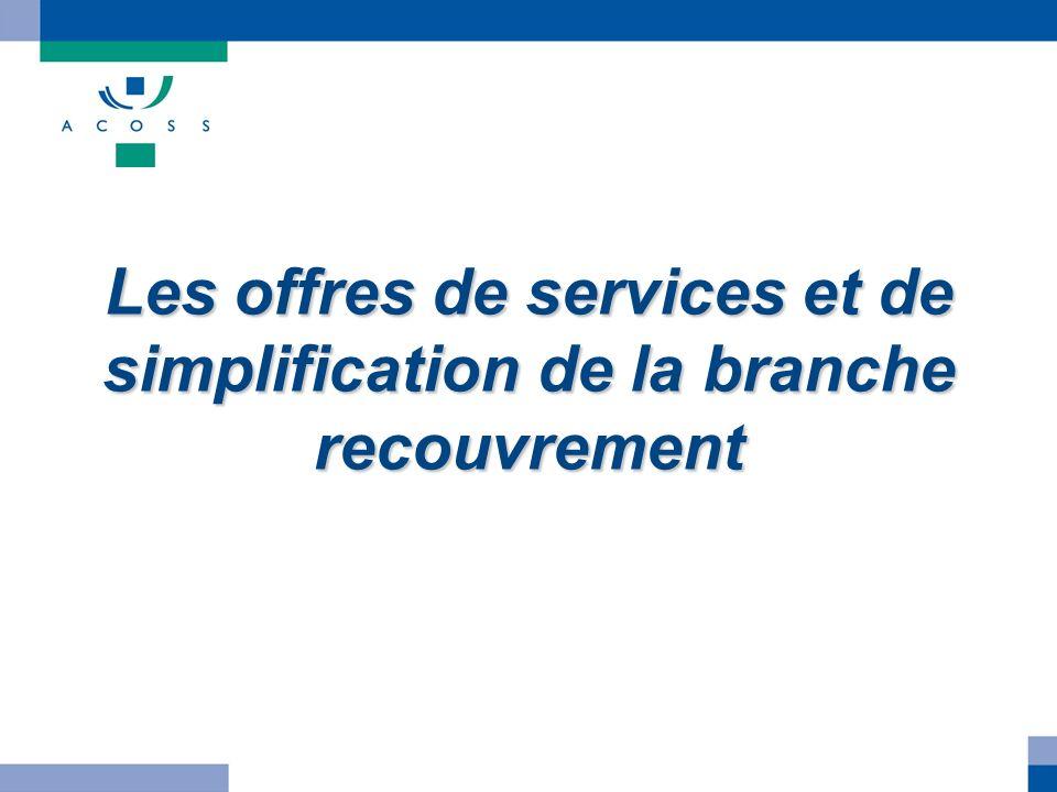 Les offres de services et de simplification de la branche recouvrement