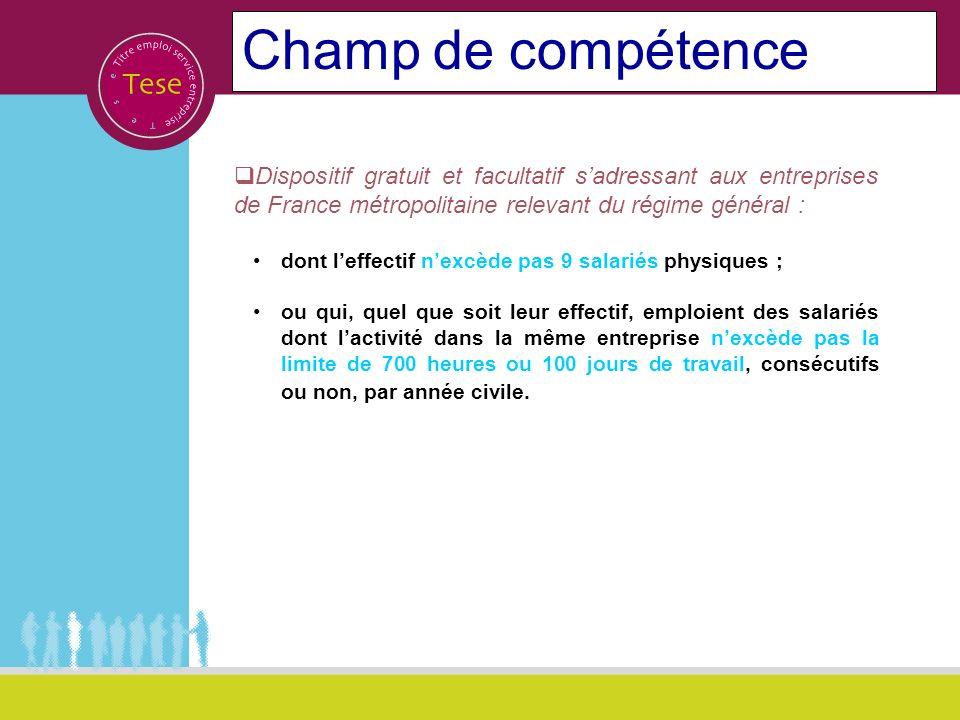 Champ de compétenceDispositif gratuit et facultatif s'adressant aux entreprises de France métropolitaine relevant du régime général :