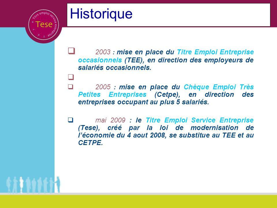 Historique 2003 : mise en place du Titre Emploi Entreprise occasionnels (TEE), en direction des employeurs de salariés occasionnels.