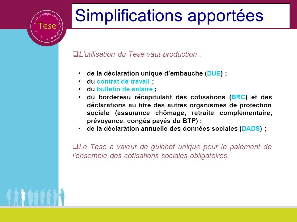 Simplifications apportées