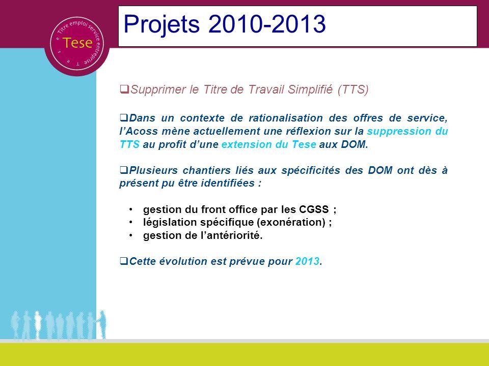 Projets 2010-2013 Supprimer le Titre de Travail Simplifié (TTS)
