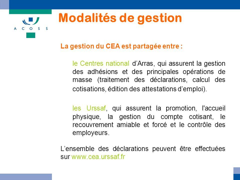 Modalités de gestion La gestion du CEA est partagée entre :