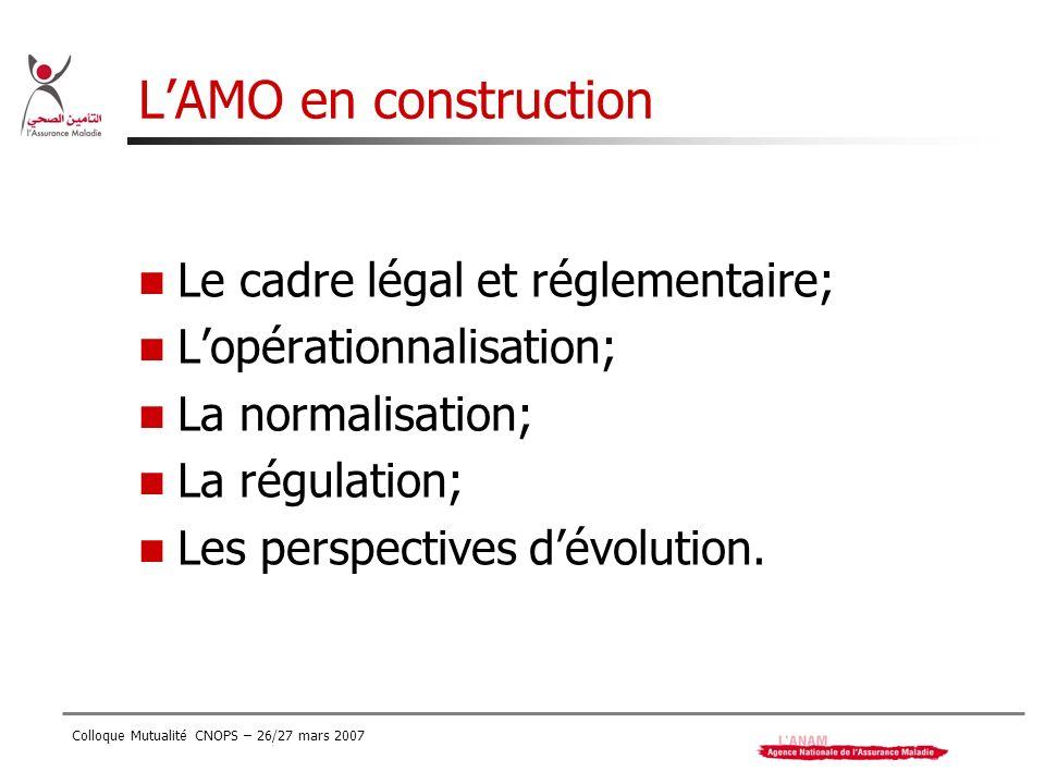 L'AMO en construction Le cadre légal et réglementaire;