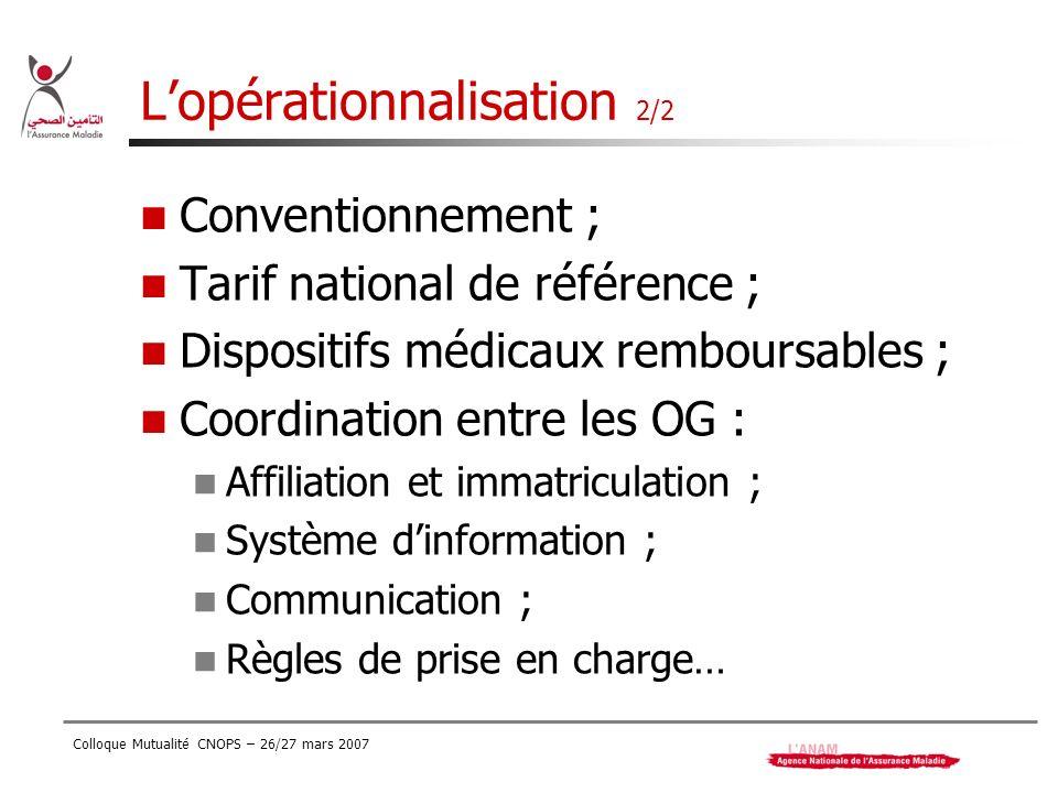 L'opérationnalisation 2/2