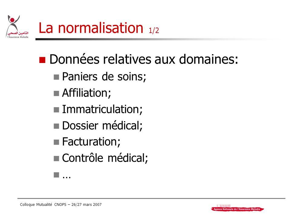 La normalisation 1/2 Données relatives aux domaines: Paniers de soins;