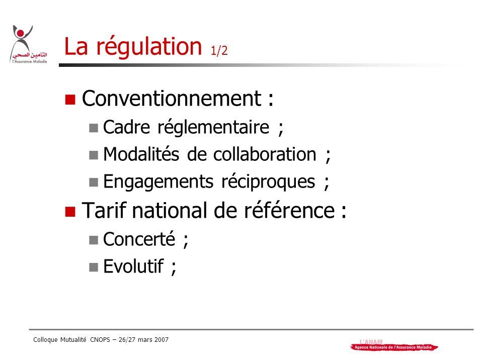 La régulation 1/2 Conventionnement : Tarif national de référence :