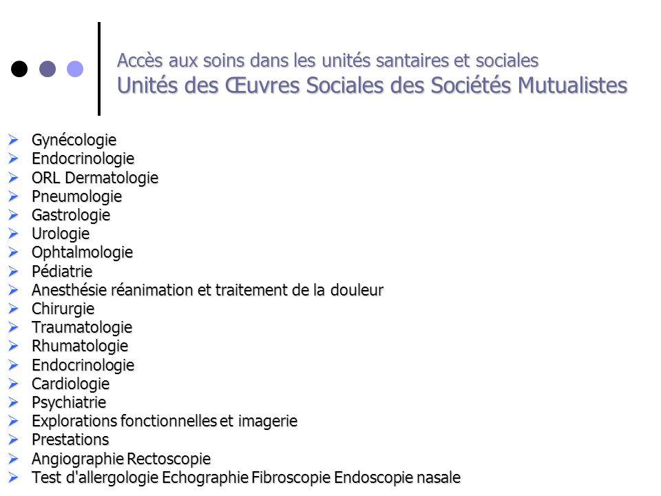 Accès aux soins dans les unités santaires et sociales Unités des Œuvres Sociales des Sociétés Mutualistes