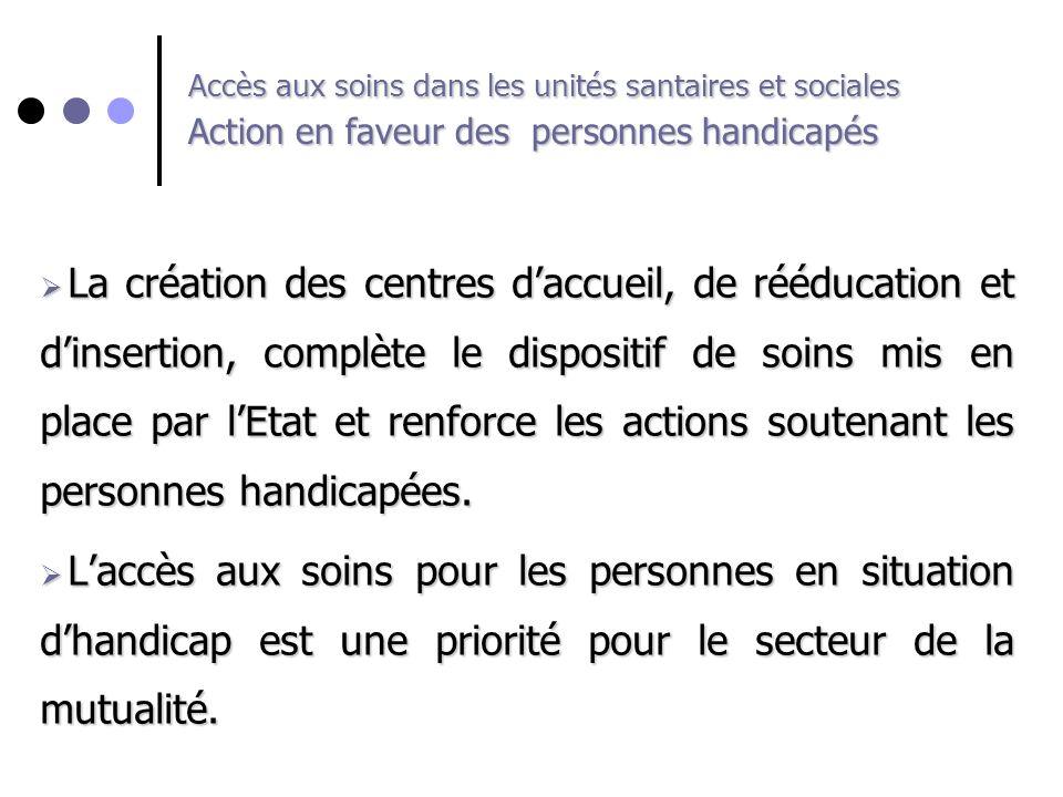 Accès aux soins dans les unités santaires et sociales Action en faveur des personnes handicapés