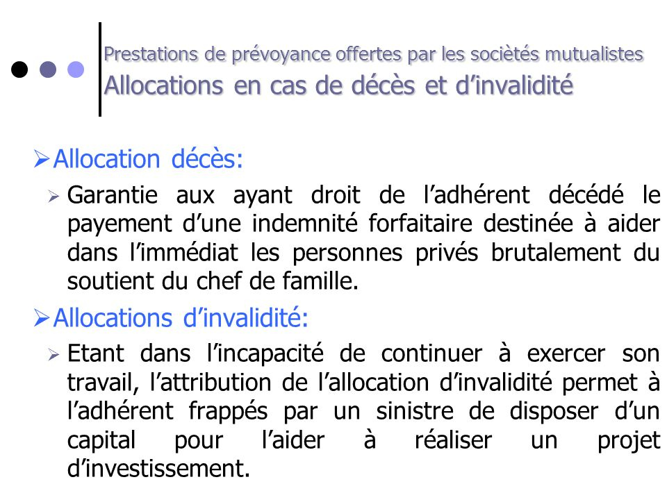 Allocations d'invalidité: