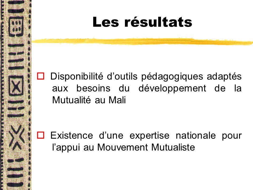 Les résultats Disponibilité d'outils pédagogiques adaptés aux besoins du développement de la Mutualité au Mali.