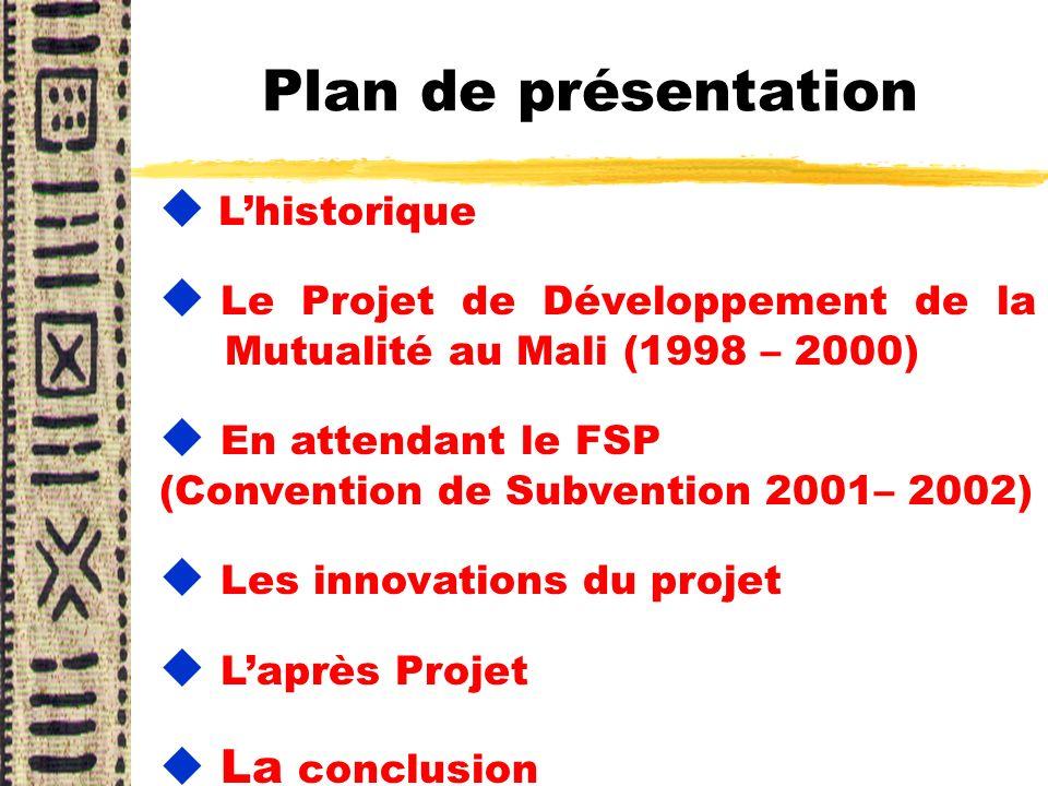 Plan de présentation L'historique