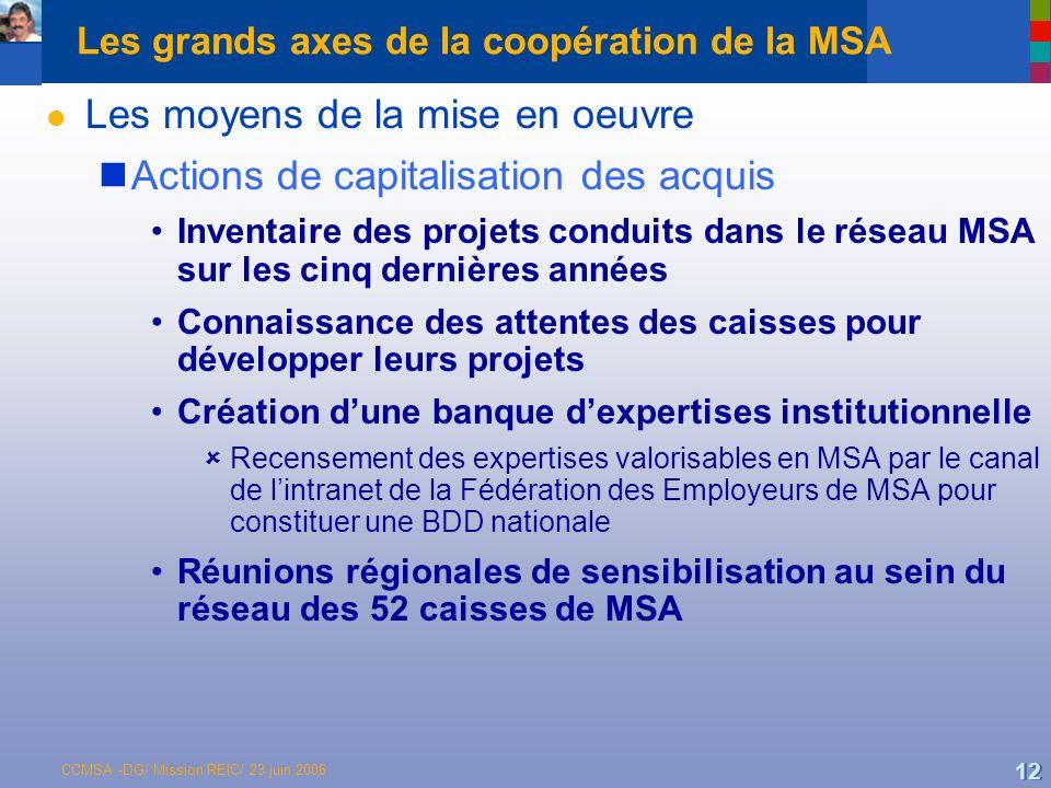 Les grands axes de la coopération de la MSA