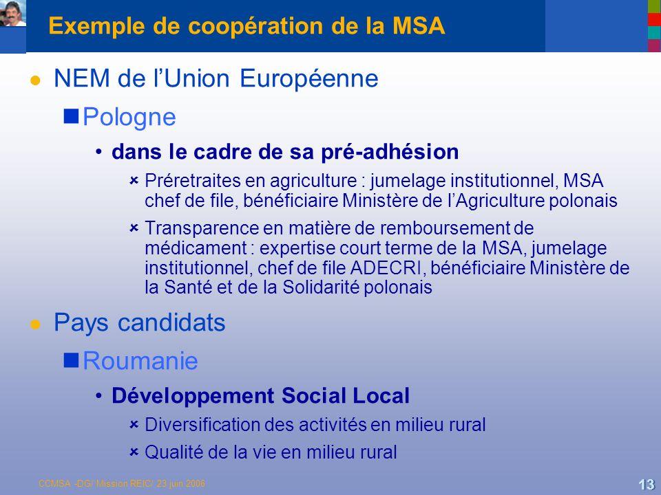 Exemple de coopération de la MSA