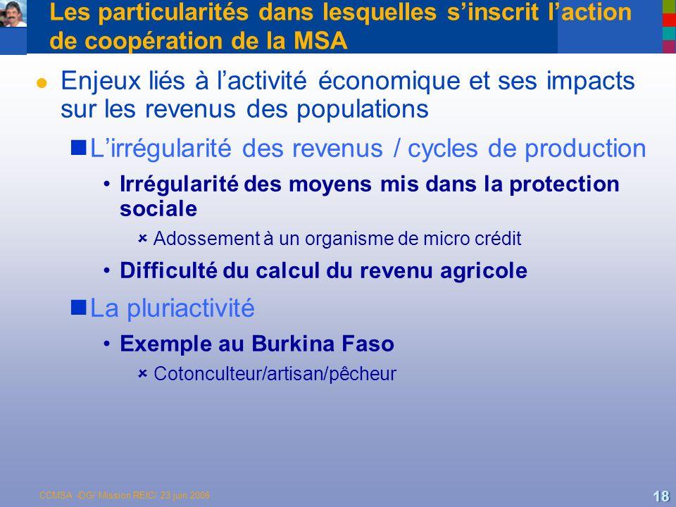 L'irrégularité des revenus / cycles de production