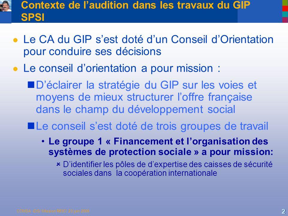 Contexte de l'audition dans les travaux du GIP SPSI