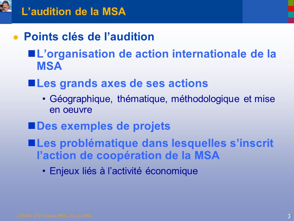 Points clés de l'audition