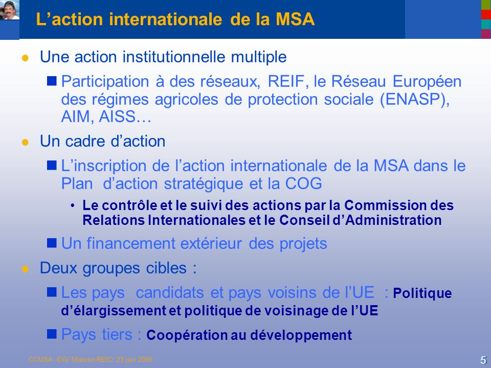 L'action internationale de la MSA